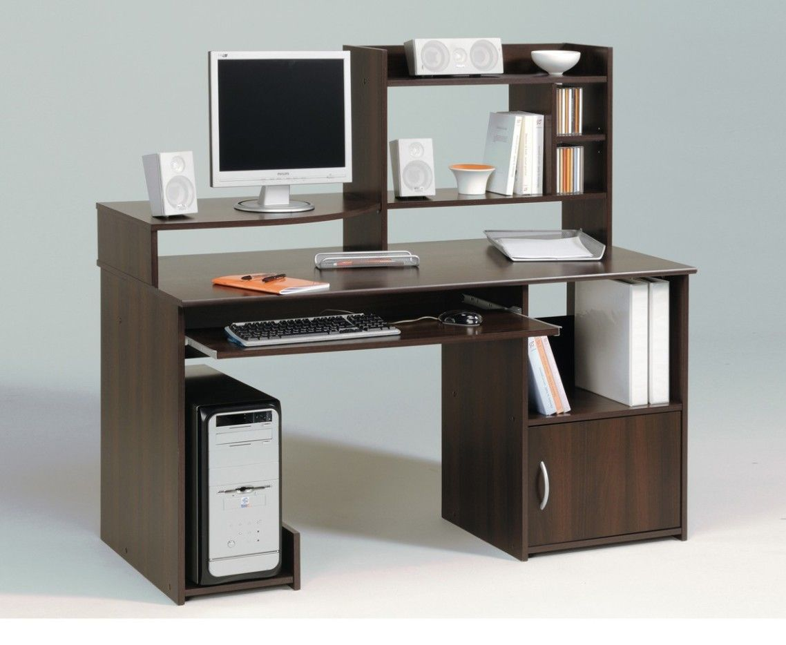 Enticing Cool Computer Table Design With Dark Brown Wooden