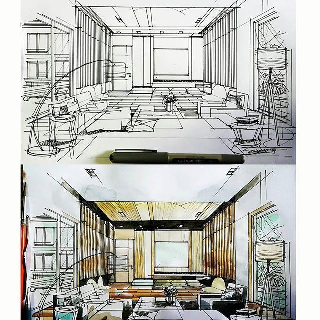 Home Theater Interior Design: #hometheater #entertainment #sketch #watercolour