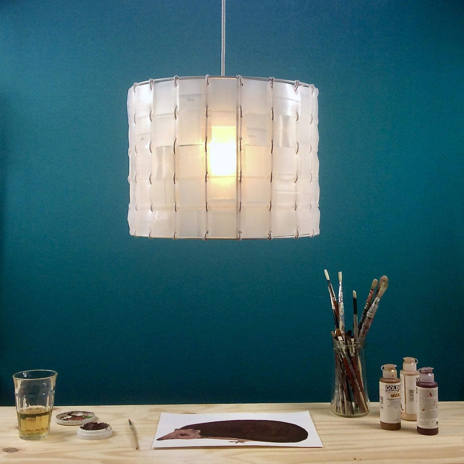 Pendant lamp, handmade with subtile mosaic pattern by PouBelleDesign on Etsy