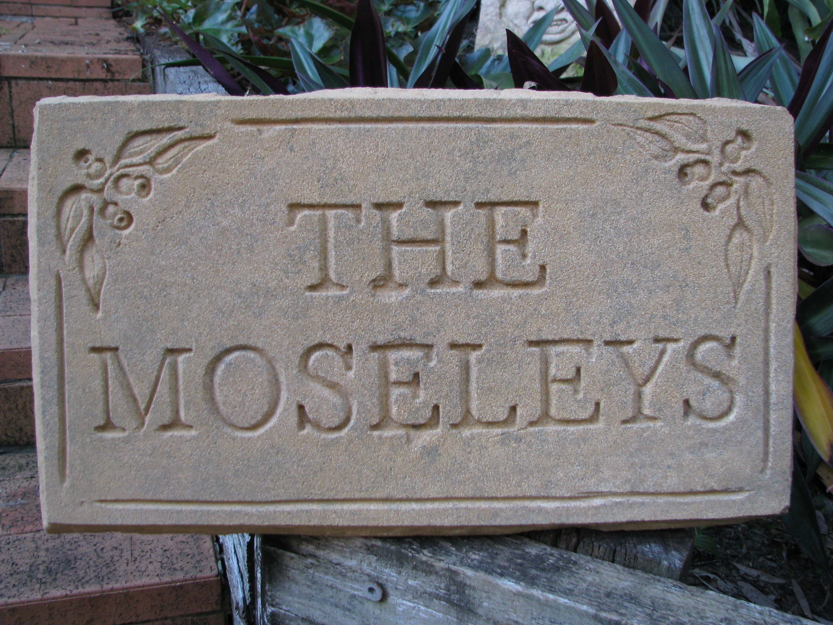 Sandstone name plate. wood stone carving pinterest