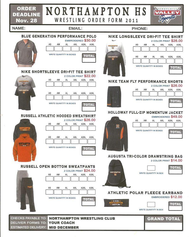 Pin By Tia Hapner On Form Inspiration Order Form Template Spirit Wear Order Form