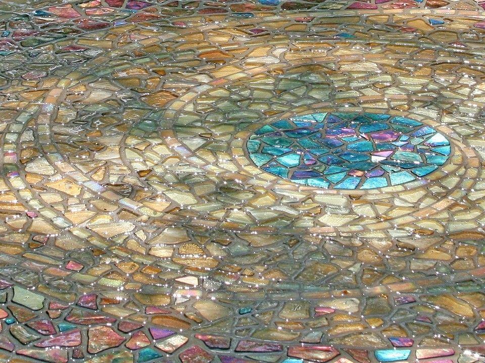 Planet Garden Mosaic detail Iridescent Glass Tile 435 radius