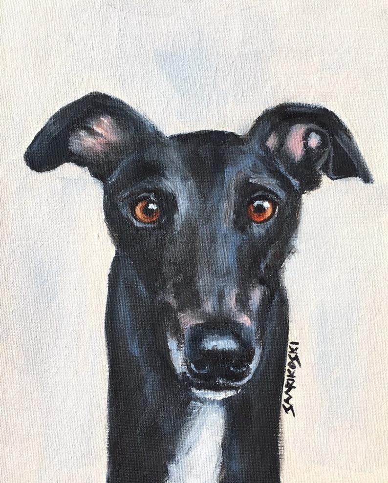 Black greyhound original oil painting on canvas board