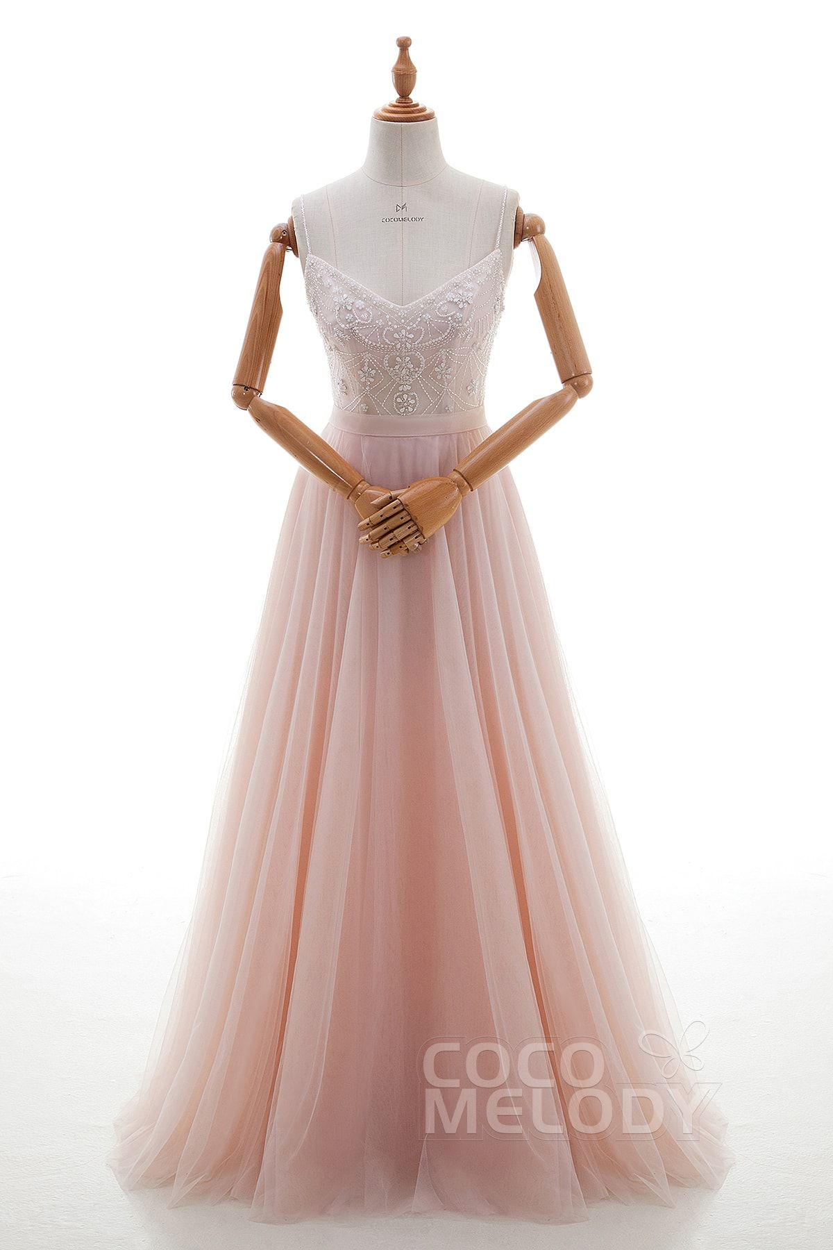 Perfect Sheath-Column Spaghetti Strap Natural Floor Length Tulle ...