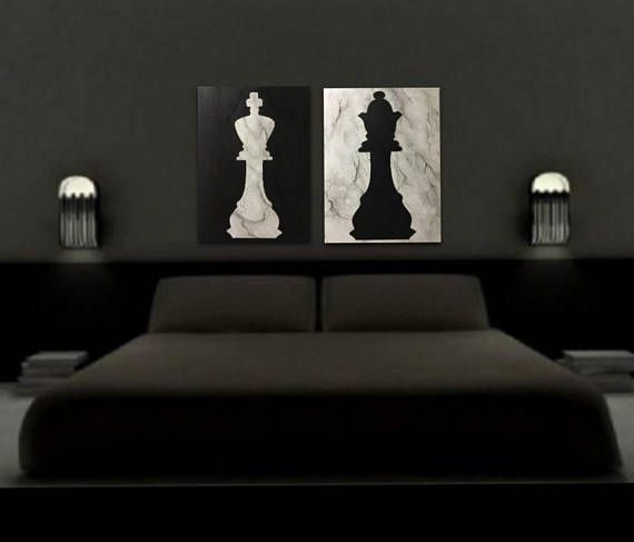 King Queen Marbled Chess Piece Painting Custom His And Hers