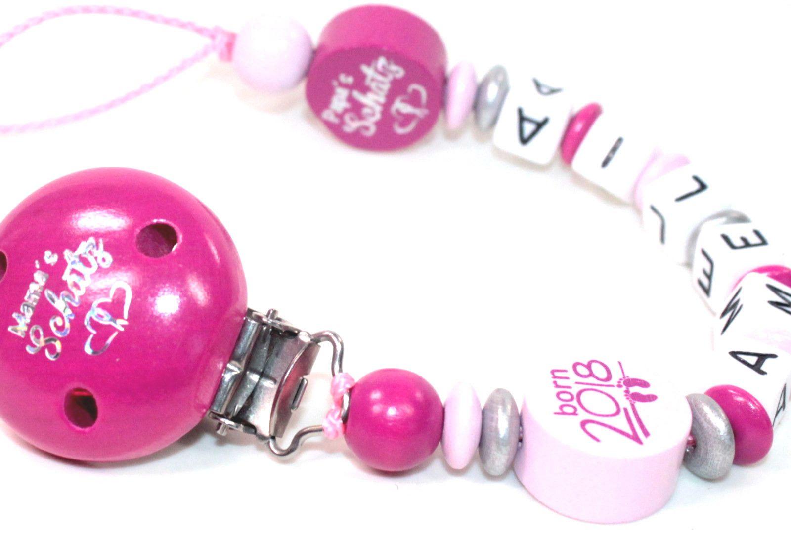 Schnullerkette mit Namen Hello Kitty Schleife Diva Nuckelhalter Mädchen lila
