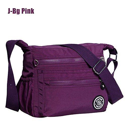 d56dbc91f0 J-BgPink Lightweight Waterproof Nylon Shoulder Bag Crossbody Messenger Bag  with Zipper Pockets Black Purple Navy Blue (Purple)    Read review