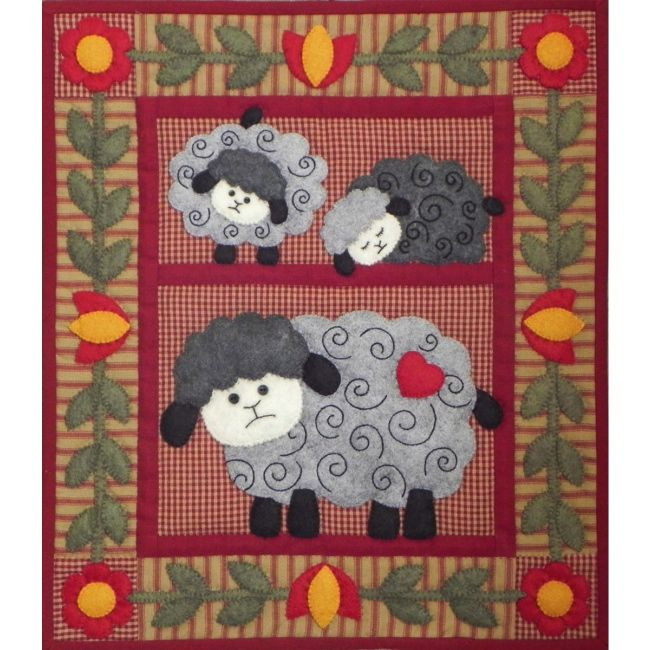 The Twin Lambs Wall Quilt Kit is an applique quilt kit from ... : complete quilt kits - Adamdwight.com