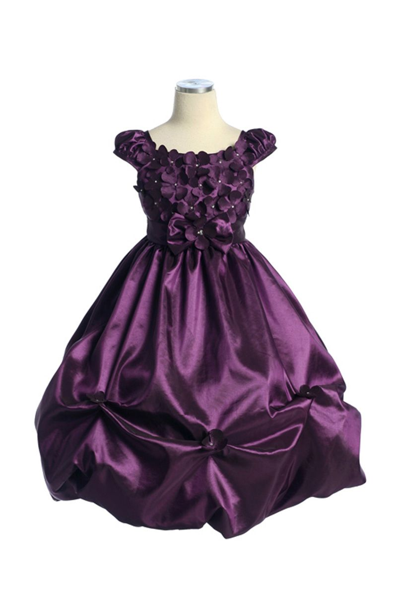 Plum pickup bubbled flower dress with cap sleeves cdpm
