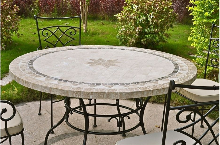 Patio Table, Round Stone Patio Table