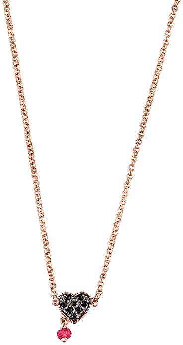 Spinel heart chain with silver and gold elements