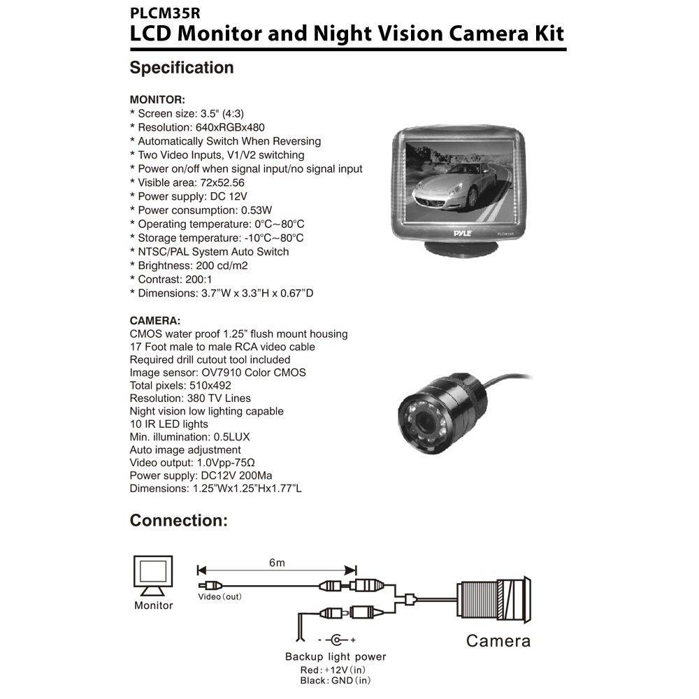 Pyle Backup Camera Wiring Diagram In 2020 Colour Camera Lcd Monitor Backup Camera