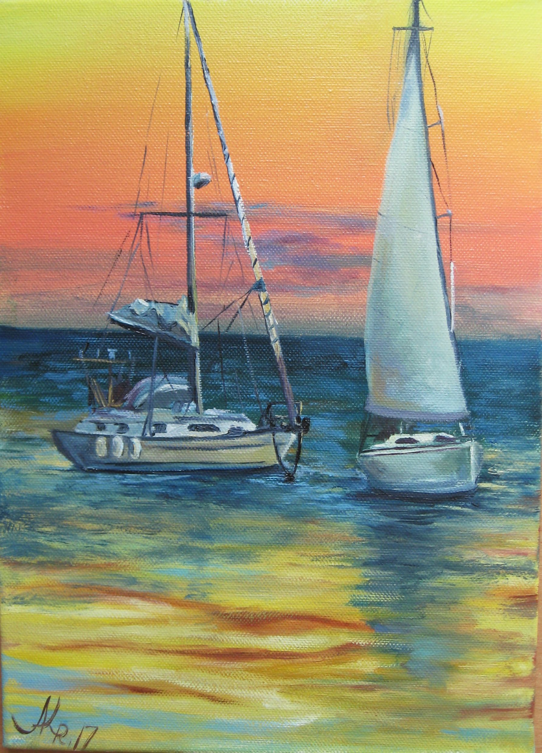 Sailboats painting Sunset painting oil Sunset wall art ...