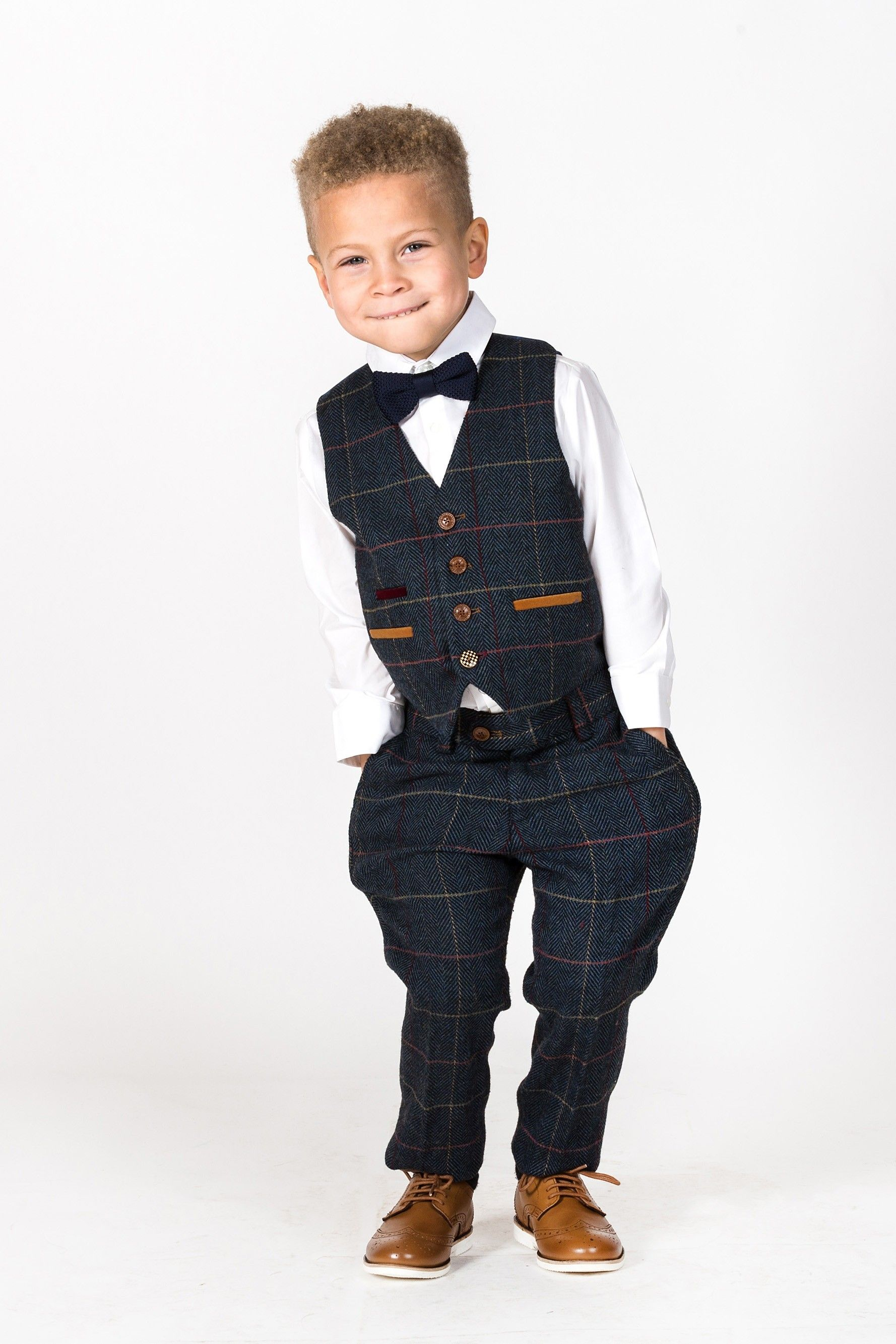 Eton navy blue tweed check three piece suit kids suits