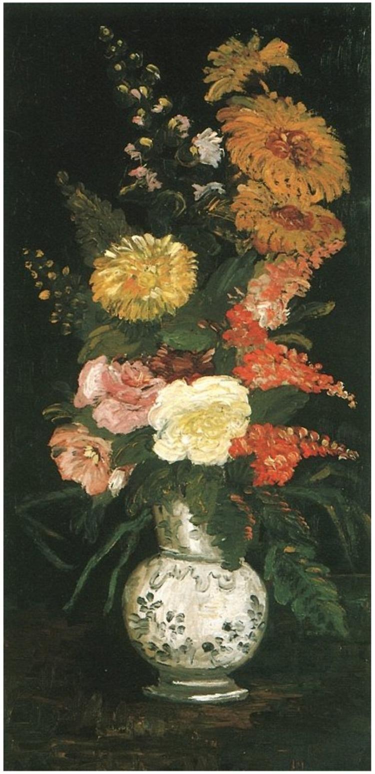 Vase With Asters Salvia And Other Flowers By Van Gogh Producao De Arte Flores Pintadas Ideias Para Pintura