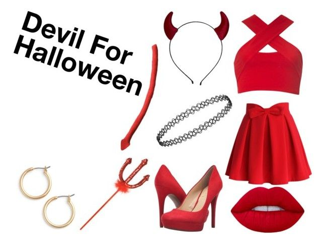 """""""Devil For Halloween"""" by hey-mate ❤ liked on Polyvore featuring Motel, Chicwish, Jessica Simpson, Lime Crime and Nordstrom"""