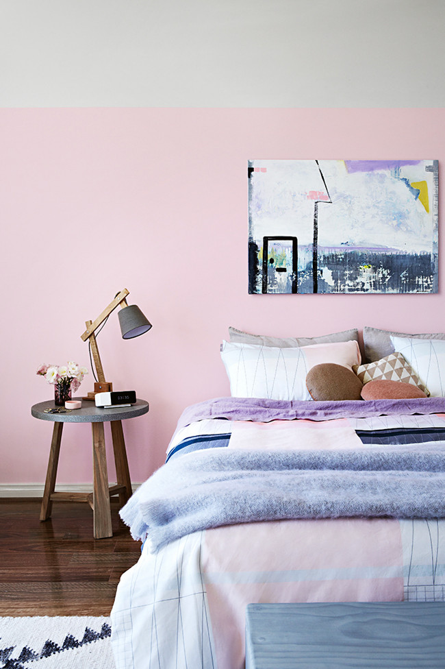 Loving The Grey And Pink Colour Scheme On Walls Bedside Table From 79