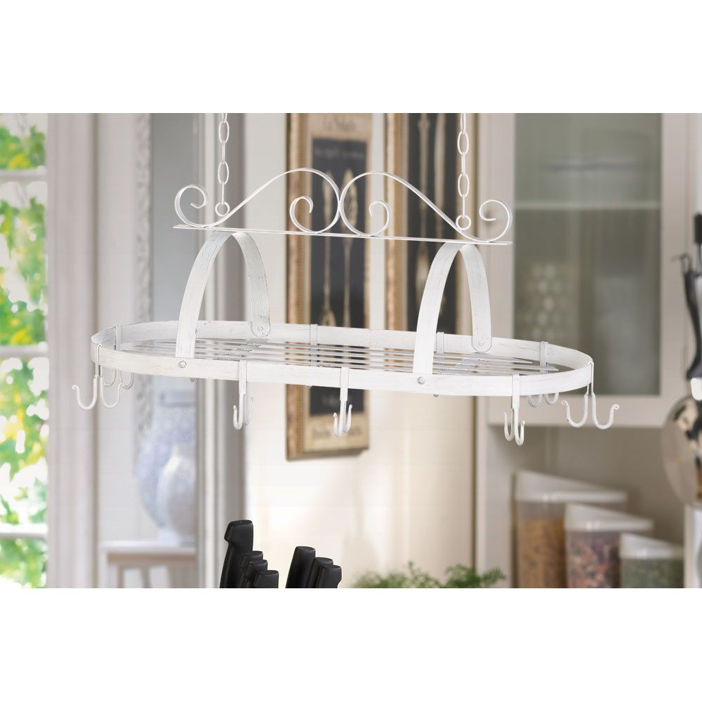 Kitchen: white scrollwork distressed finish iron hanging pot holder ...