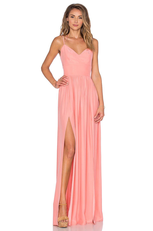 Amanda Uprichard Rio Maxi Dress in Peach | Evening / Holiday ...