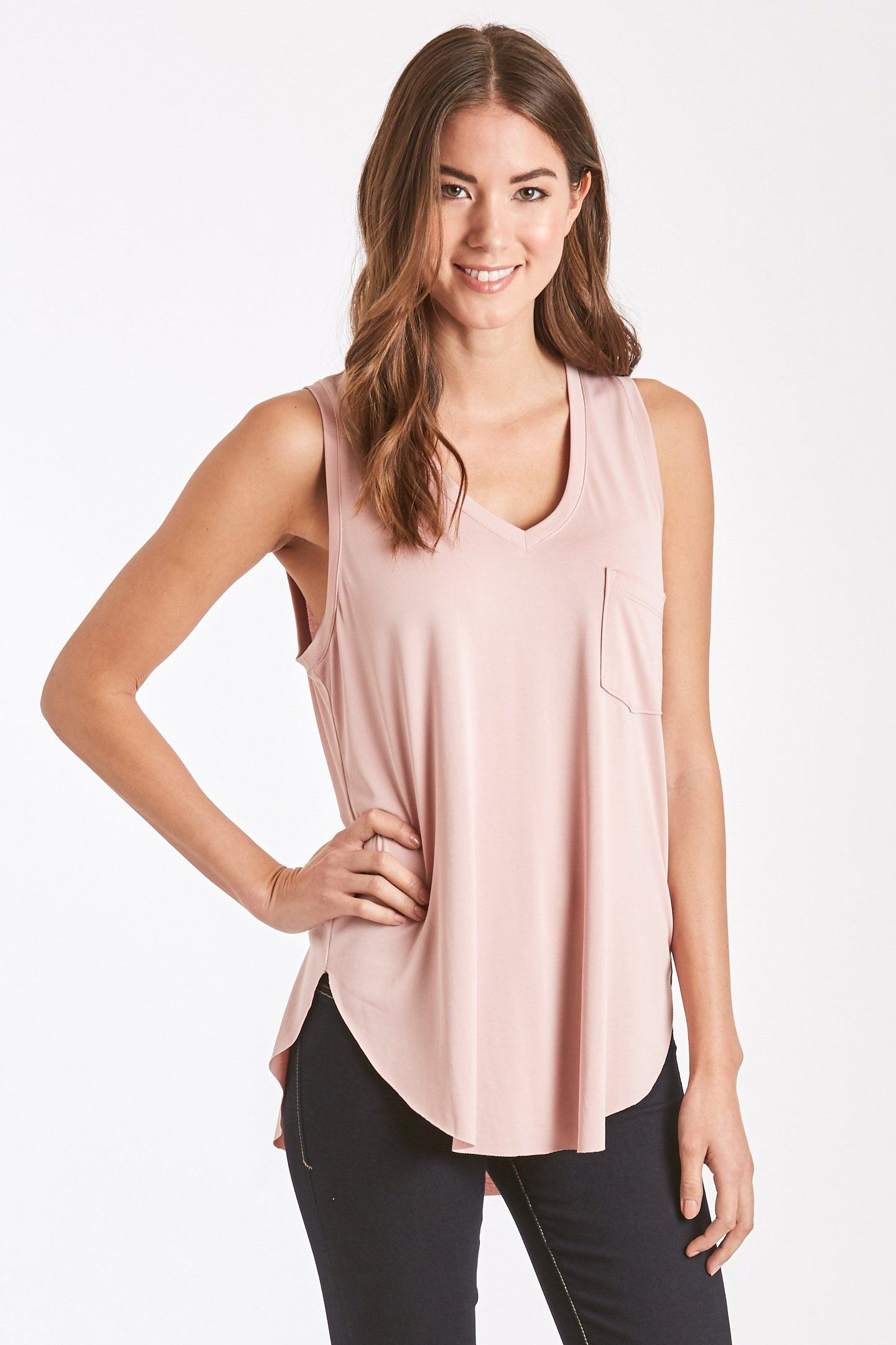 3da1fe894c8f7 A simple modal V-neck tank with a front side pocket. This classic tank