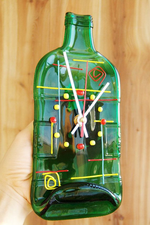 Wall Clock Recycled Bottle Home Decor Melted Green Wine Bottle