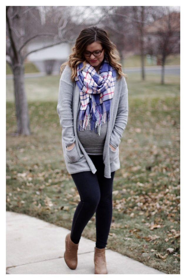 0f084f52a7a2 fall  winter maternity style  gray cardigan