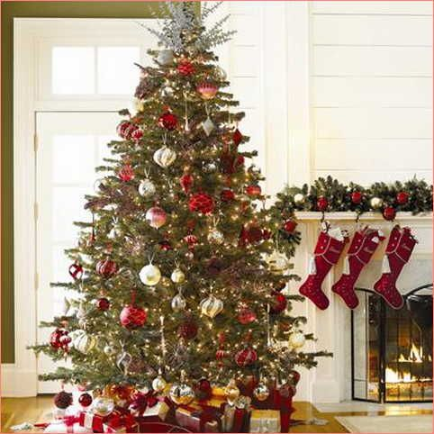 white christmas tree with red and gold decorations  Rainforest