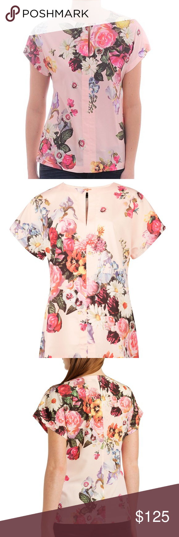 30c2ca8b59e14 Ted baker floral top Ted Baker Women s Edweena Oil Painting Print Size 0 In  mint condition Has cute rose gold hardware. Ted Baker London Tops