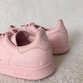 shoes pink shoes pink rose stan smith adidas stan smith pink adidas raf  simons pastel sneakers pink sneakers custom cute kawaii japan love tumblr g…