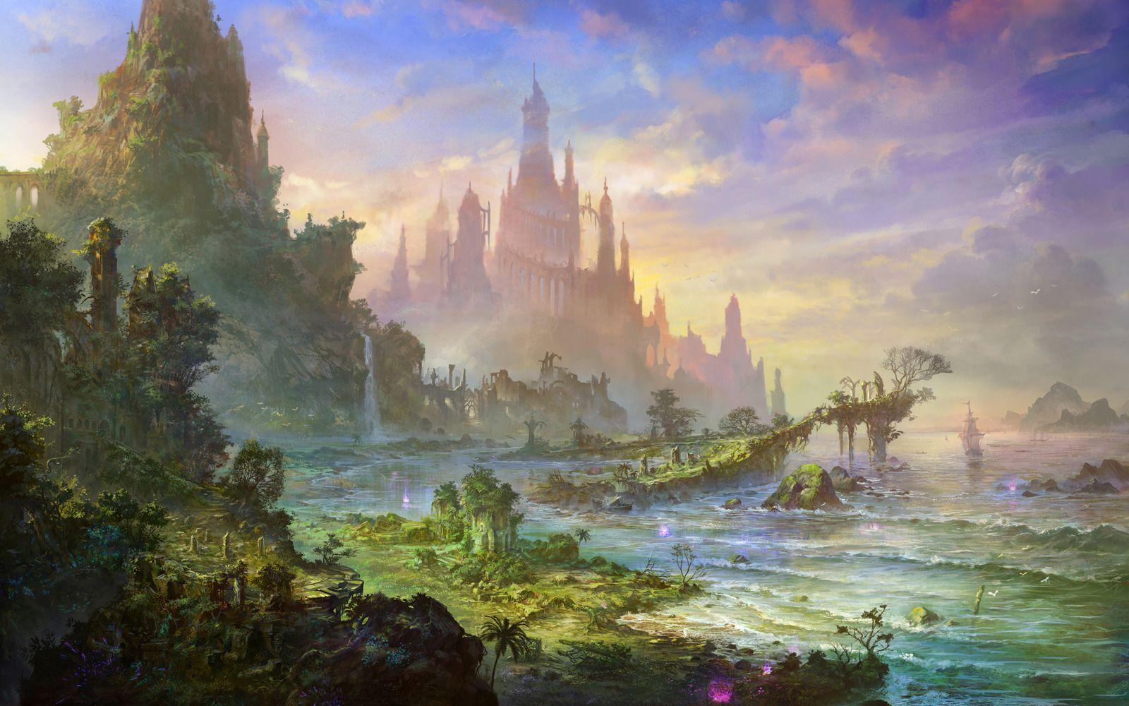 landscapes castles fantasy art - photo #6