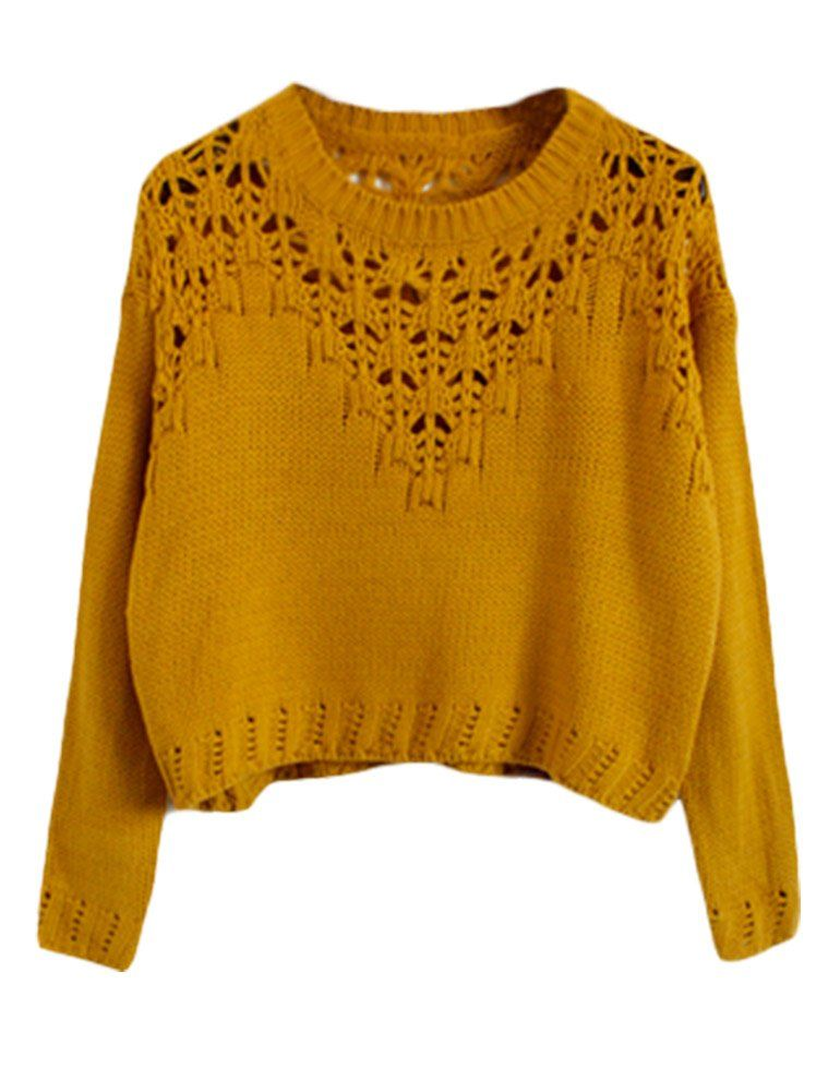 27986e878b PrettyGuide Women Eyelet Cable Knit Lace Up Crop Long Sleeve Sweater Crop  Tops Beige at Amazon