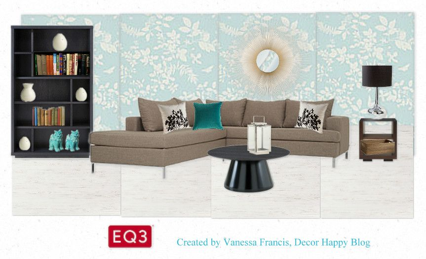 """""""I love the long, low lines of the Lola 2-pc sectional and I think it pairs well with the Champi cocktail table. I was inspired to create a light, airy Scandinavian inspired design with white washed floors, dark wood and touches of blue. The traditional feel of the aqua wallpaper is an unexpected backdrop to the modern Lola."""" -Vanessa F  http://www.decorhappy.blogspot.ca/"""
