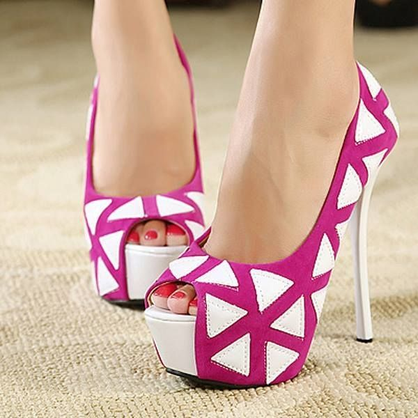 White And Pink High Heels | Tsaa Heel