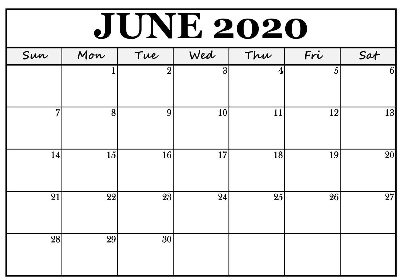 Blank Calendar Template June 2020 June Junecalendar June2020