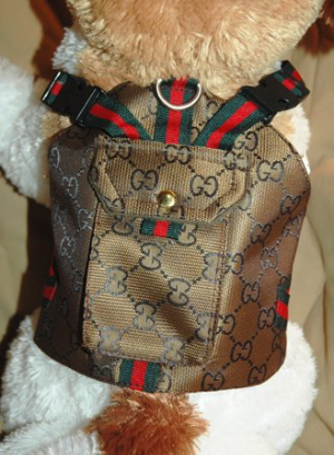 Gucci Inspired Backpack Harness Set Burberry dog collar