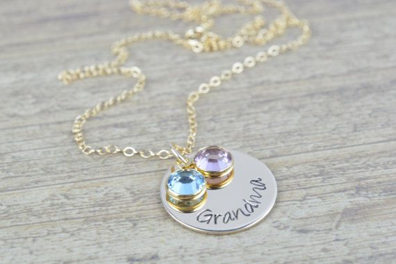 Personalized Grandma S Necklace In 14k Gold Filled Necklace With Birthstones Christmas Gifts Stamped Jewelry Personalized Grandma Necklace Grandma Necklace