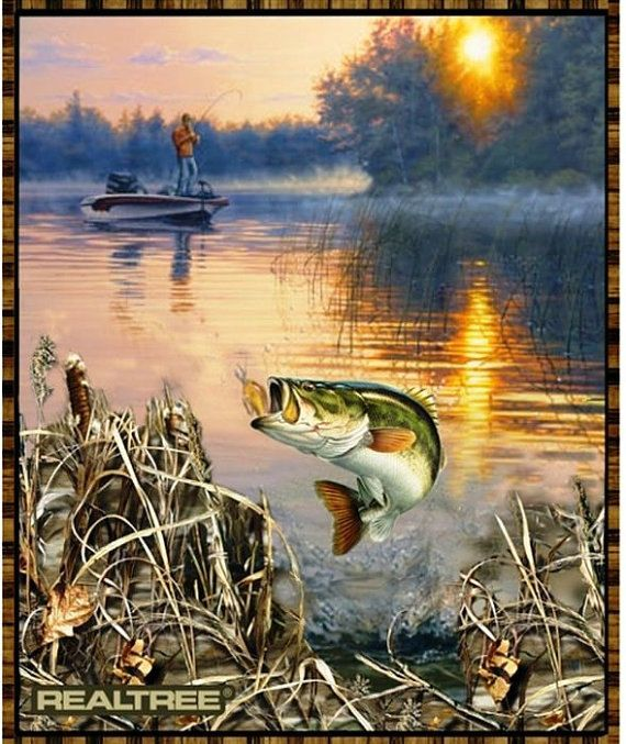REALTREE BASS Fabric Panel Genuine and by RockinBobbinsQuilts