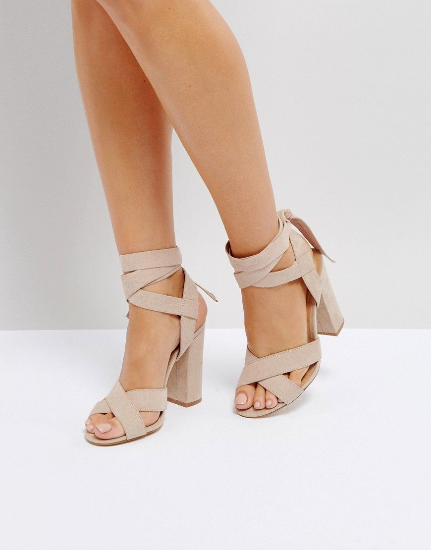 0eeb81a88 Truffle Collection Tie Up Block Heeled Sandal - Beige | kicks in ...