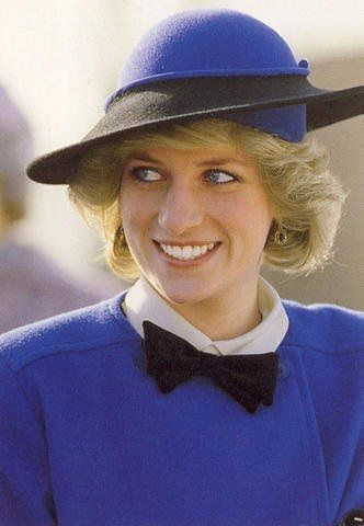 Diana Princess of Wales on a visit to Hereford Cathedral, Hereford, Herfordshire on April 9, 1985. Her outfit was designed by Bellville Sassoon and a blue Frederick Fox hat.