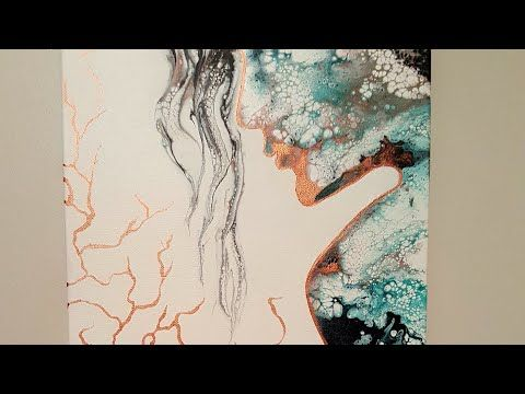 Acrylic Fluid Woman Silhouette With Hair Dryer Youtube Acrylic
