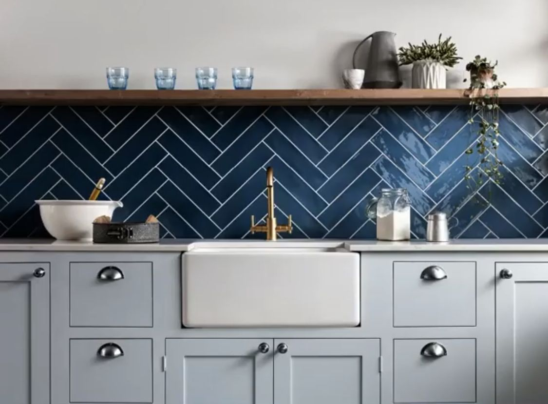 Pin by James Thomas on Dream House   Kitchen wall tiles, Blue ...
