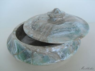 Biscottiera centrotavola in marmo multicolor