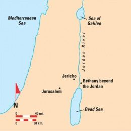 "This map shows the location of ""Bethany beyond the Jordan ... Red Sea Jordan River Map Of Mediterranean on sea of galilee map jordan river, egypt map jordan river, asia map jordan river, middle east map jordan river, israel map jordan river,"