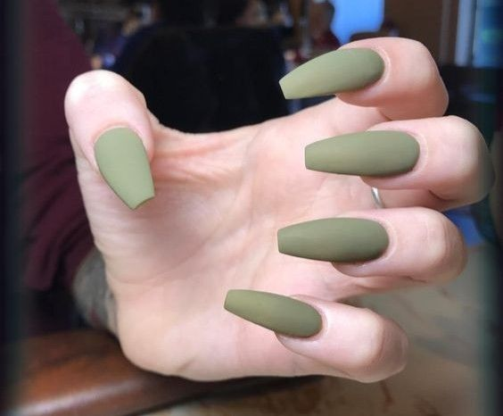 Olive Green Coffin Shaped Nail Extensions In 2020 Green Nails Olive Nails Green Nail Designs