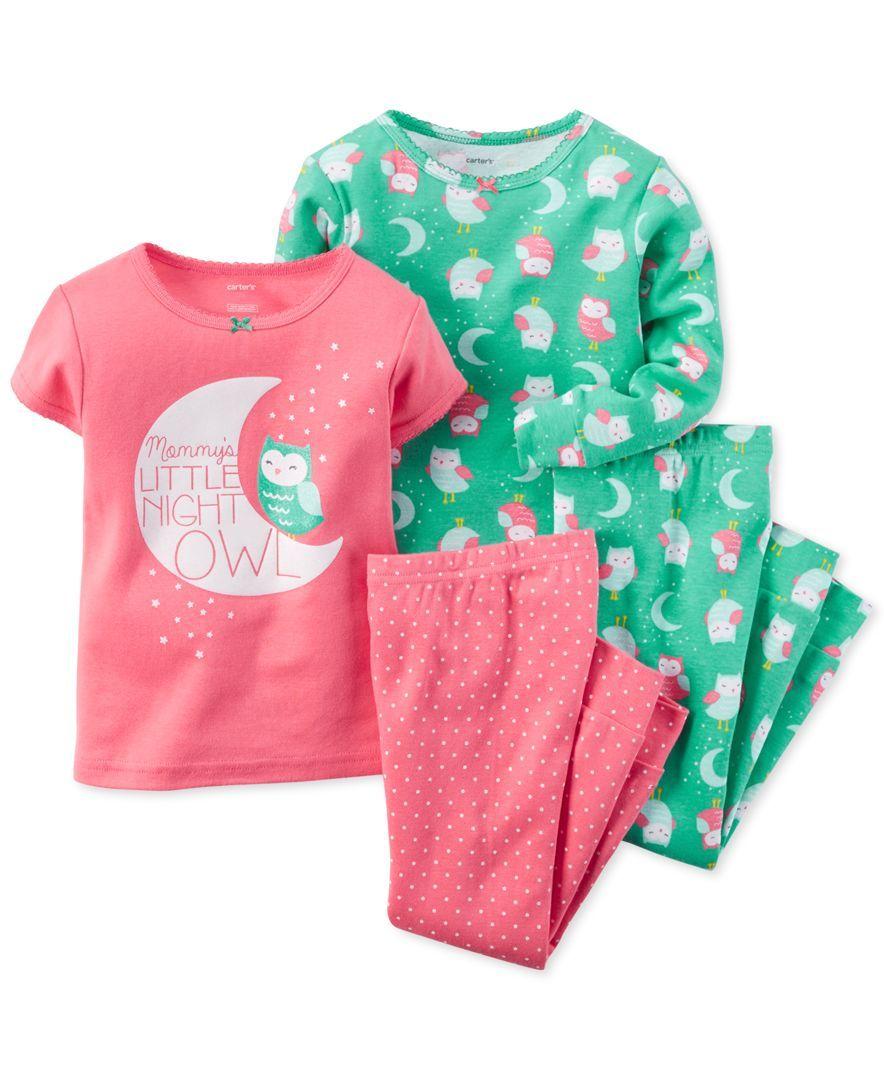 c3b26de81472 Carter s Little Girls  4-Piece Night Owl Pajama Set
