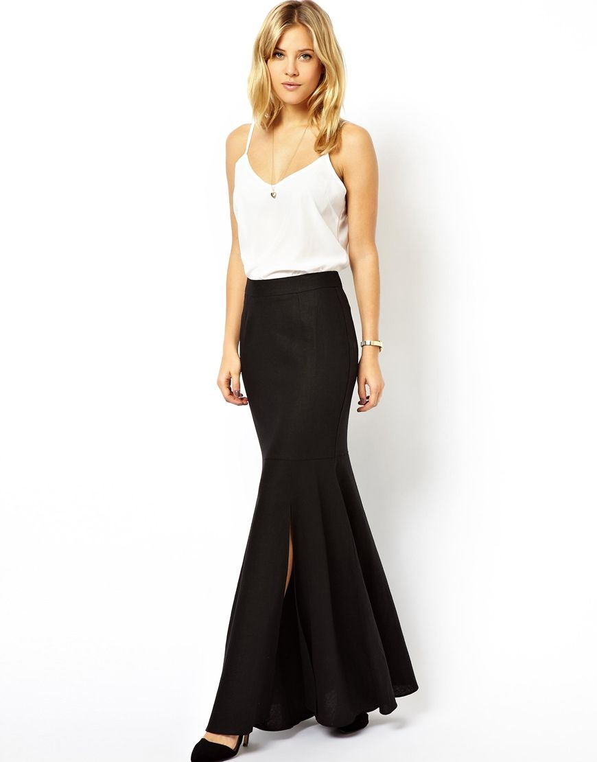 Linen Side Split Maxi Skirt from ASOS [only $50] | Style Deals ...