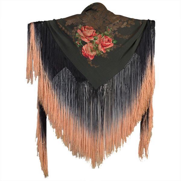 Preowned 1920s Silk Lamé Floral Piano Shawl With Fringe (5.925 BRL) ❤ liked on Polyvore featuring accessories, scarves, 1920s, jackets, shawl, black, floral print scarves, fringe scarves, shawl scarves and ombre scarves