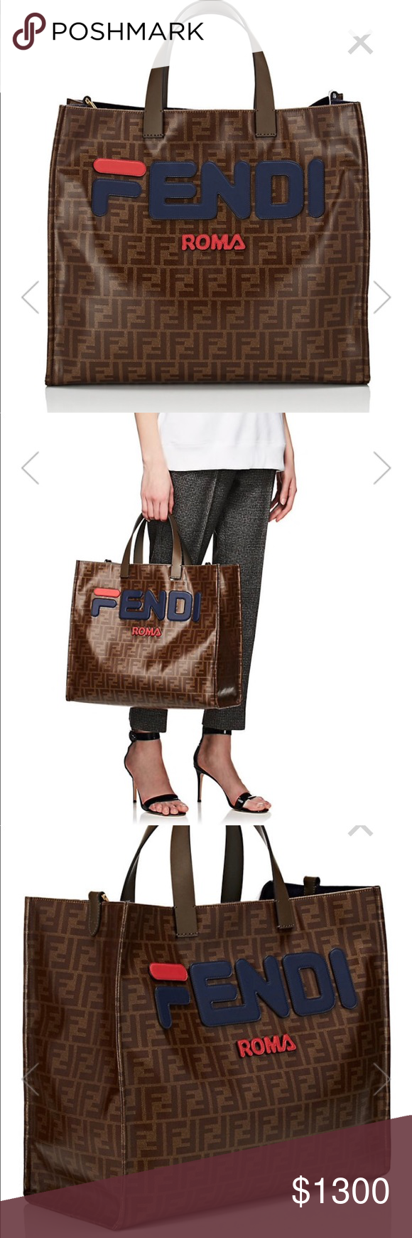 3c3117008f2 FENDI SMALL COATED CANVAS TOTE BAG BRAND NEW Fendi s Shopping small tote bag  is constructed of