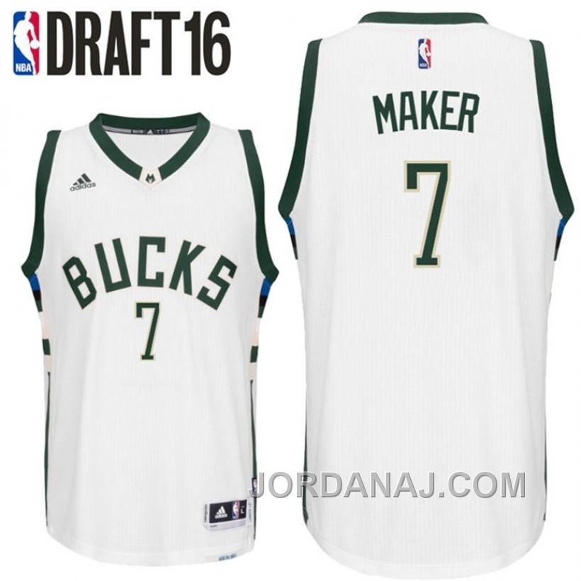 655efb30e ... top quality jordanaj thon maker milwaukee bucks 7 2016 nba draft home  white jersey.html