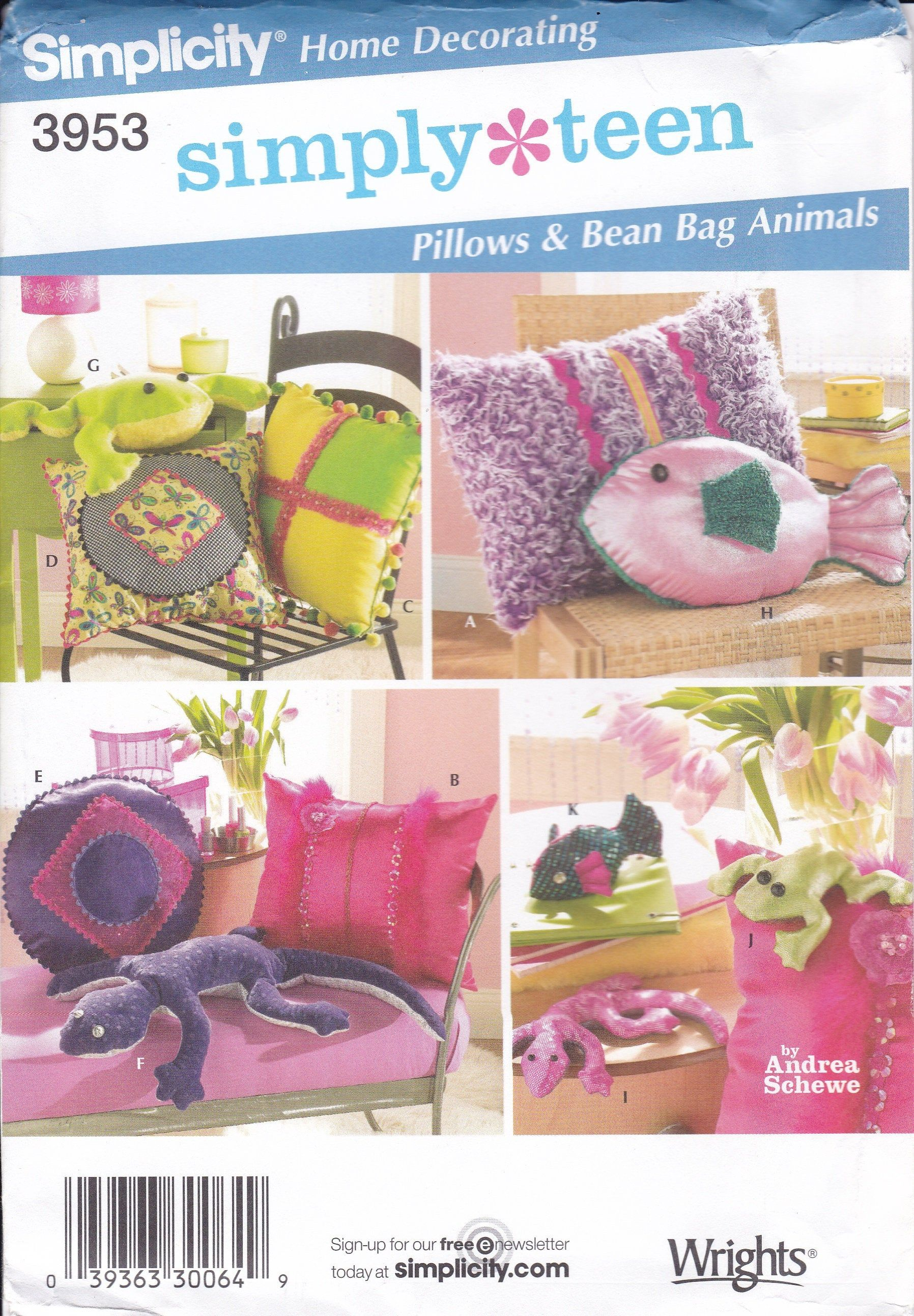 New Sewing Pattern Novelty Pillows Simplicity 3953 New uncut